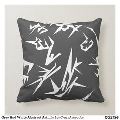 Grey And White Abstract Art Cushion Pillow