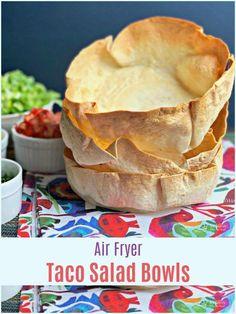 Air Fryer Recipes Snacks, Air Fryer Recipes Low Carb, Air Fryer Recipes Breakfast, Air Frier Recipes, Air Fryer Dinner Recipes, Air Fryer Recipes Mexican, Mexican Meals, Mexican Recipes, Taco Salad Bowls