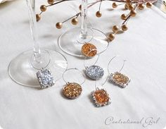 DIY Wine glass charms - Amazing Glaze embossing powder, pendant bases, earwires, and glitter