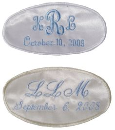 Personalized wedding gown labels