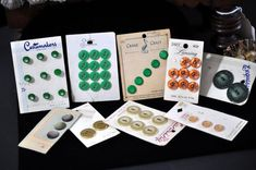 $6.00 9 Assorted Vintage Buttons on Cards by souhernsistersjewels