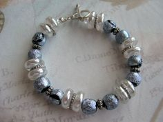 Dichroic Lampwork Beaded Bracelet Crystal Blue & by tuscanroad, $30.00