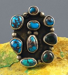 "1 3/8""  1950s RARE Navajo MARK CHEE Sterling BISBEE Turquoise Cluster Ring Sz 7"