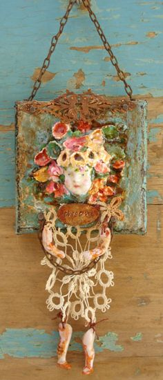 By the awesome JoAnna Pierotti. Mixed Media Collage, Collage Art, Collages, Paper Dolls, Art Dolls, Tatting, Found Art, Assemblage Art, Doll Head