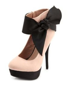 Satin bow and Suede Pumps - Charlotte Russe