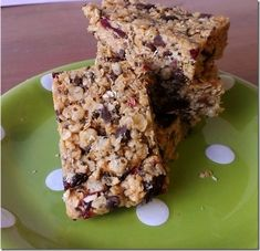 Chia granola bars - 1 cup oats, rice cereal, salt, chia seeds, cup cranberries, chocolate chips, PB, honey, vanilla extract