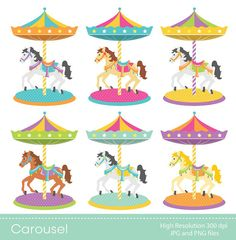 Digital clipart - Carousel for Scrapbooking, Paper crafts, Cards Making, Invitations, INSTANT DOWNLOAD printable
