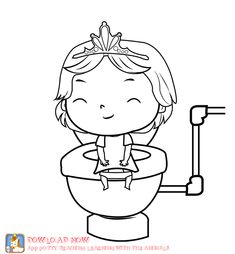 Potty training coloring page. girl. Part of a Fun potty training app that teaches kids how to use the potty DOWLOAD: iphone: https://itunes.apple.com/us/app/potty-training-learning-animals/id600570351?mt=8 android: https://play.google.com/store/apps/details?id=org.camila.animaltraining potty training ideas with the app: potty training learning with animals: #pottytraininggirls #potty training girls