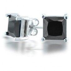 2 52 Ct Natural Black Solitaire Diamond Earrings Men S Square