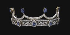 From the Habsburg Sapphire Parure of Empress Marie-Louise of France. Sapphire & Diamond Tiara, Late 19th Century