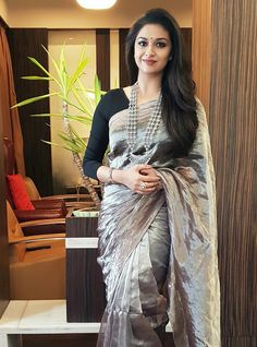 One of the most sought-after heroines down South, Keerthy Suresh has reportedly bagged one more Bollywood film and has apparently auditioned for the same. Most Beautiful Indian Actress, Beautiful Actresses, White Off Shoulder Dress, Transparent Dress, South Indian Actress, South Actress, Elegant Girl, Stylish Sarees, Saree Look