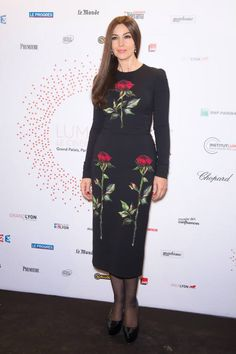 Monica Bellucci wearing Dolce&Gabbana to attend the Lumiere! Le Cinema Invente exhibition preview in Paris on March 26, 2015.
