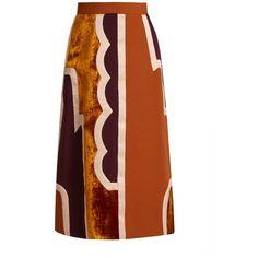Roksanda Takuya patchwork skirt ($1,724) via Polyvore featuring skirts, a line midi skirt, velvet skirt, mid calf skirts, patchwork skirt and a line skirt