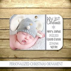 Personalized Christmas Ornament - Baby's First Ornament - Christmas - photo Baby Ornaments, Personalized Christmas Ornaments, How To Make Ornaments, Christmas Photo Cards, Christmas Photos, Baby's First Ornament, Newborn Quotes, Baby Announcement Cards, Baby Room Colors
