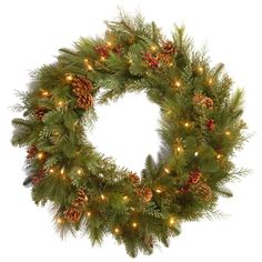 """National Tree Company Battery-Operated 30"""" Decorative Collection Noble Mixed Wreath with Soft White LED Lights"""