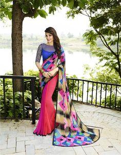 Buy Indian Vogue Self Design Beautiful Multicolor Georgette Saree Online India - 4507914
