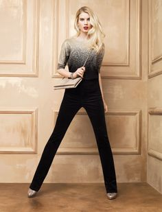 """Ombre. #whbm I love this outfit and would like to pair it with a pair of 6"""" black stiletto booties, a high low draped asymmetrical cardigan 4 ply cashmere & silk knit and a cross body black prada messenger bag or a large handbag with the classic lines of hermes birkin bags"""
