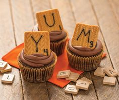 These cupcakes are not only delicious, they are so fun with their Scrabble style. Cupcake Icing, Baking Cupcakes, Cupcake Recipes, Cupcake Cakes, Cupcake Ideas, Just Desserts, Delicious Desserts, Tastefully Simple Recipes, Decorator Frosting