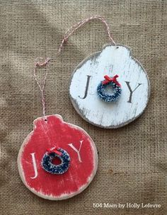 The Best DIY Farmhouse Christmas Ornaments Ever!, DIY and Crafts, The Best DIY Farmhouse Christmas Ornaments Ever! You have to see all of these DIYS. you are going to want to make each and every ornament here! Handmade Christmas Tree, Wooden Christmas Ornaments, Christmas Wood, Wood Ornaments, Ornaments Ideas, Christmas Island, Beaded Ornaments, Christmas Trees, Glitter Ornaments