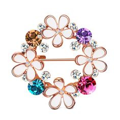 Flower Statement Brooch With Crystal