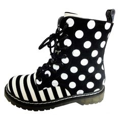 This pair of black-and-white Stripe Boots from 24 Footwear is a more trendy Doc Martens which is now back in style.