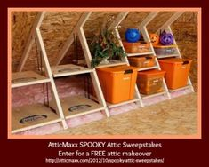 AtticMaxx Spooky Attic Sweepstakes: Don't get aggravated with your attic storage this holiday season. Get organized! Enter the AtticMaxx SPOOKY Attic Sweepstakes for your chance to win a FREE attic makeover.  #holiday storage, #get organized, #fall decorating