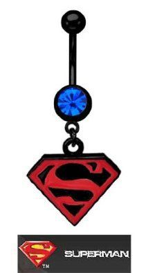 Superman Belly Button Ring..I don't really like superman but I feel like this would look really cute in someone's stomach as a belly ring ((: