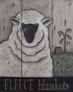Sheep Art Prints, vintage inspired Black & White Sheep Folk Art Prints, Set of 2, Fleece Blankets, Wool Sweaters by Donna Atkins. $12,00, via Etsy.