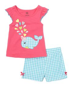 Love this Kids Headquarters Pink Angel-Sleeve Top & Gingham Shorts - Infant, Toddler & Girls by Kids Headquarters on #zulily! #zulilyfinds