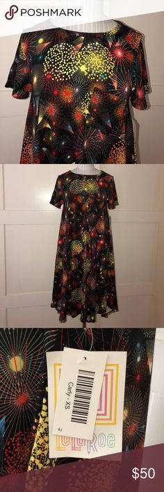 💥 NWT💥 LulaRoe / Carly fireworks dress💥💥 🔥🔥 Brand new with tags 🔥🔥 Great dress for New Year celebration or even the 4th of July 💥💥 Must have 👗🌹💕 LuLaRoe Dresses