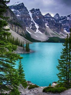 Lake Moraine in Banff National Park, Alberta, Canada. I've always thought Canada was so gorgeous..