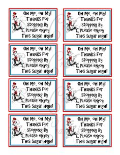 INSTANT DOWNLOAD - DIY Printable Favor Tags -  Inspired by Dr. Seuss Cat In The Hat - Digital File on Etsy, $3.50