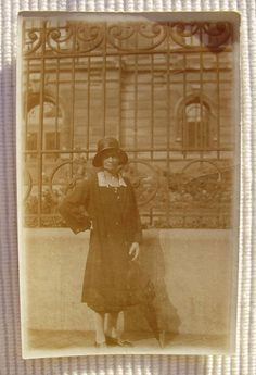 Vintage 1920's French Photo  Woman Stood Outside by ChicEtChoc, $3.50
