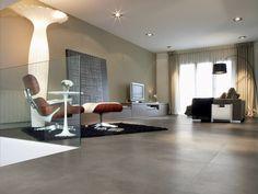 tiles in a living room Grey Floor Tiles, Grey Flooring, Gray Floor, Rv Homes, Decoration Originale, Living Room Trends, Wood Planks, Loft, My Dream Home