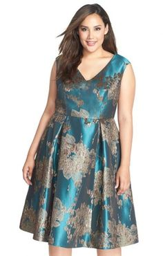 Adrianna Papell Metallic Jacquard Fit & Flare Midi Dress (Plus Size) Midi Dress Plus Size, Plus Size Cocktail Dresses, Plus Size Party Dresses, Party Dresses For Women, Plus Size Outfits, Curvy Fashion, Plus Size Fashion, Women's Fashion, Vestidos Plus Size