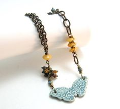 Ceramic Butterfly Necklace Beaded Earthy Chain Teal by BooBeads, $38.00