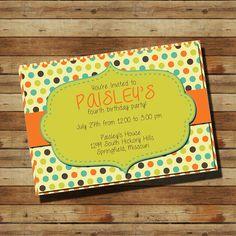 Birthday Party Invitation (digital file) Polka Dots