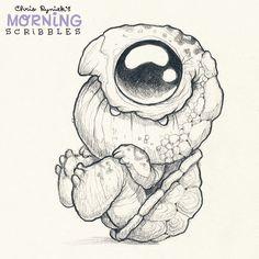 🐢 Throwback Scribble from one year ago. Cute Monsters Drawings, Cute Animal Drawings, Cool Art Drawings, Cartoon Drawings, Art Sketches, Simple Designs To Draw, Easy Designs, Monster Drawing, Little Monsters