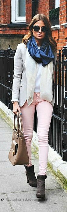 Blazer, boots, and light pink pants
