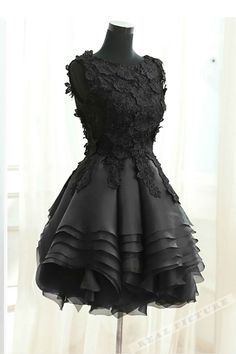 Black lace tulle short dress, homecoming party dress, fashion dress