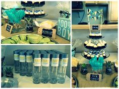 baby boy vintage hot air balloon shower -- details of the baby shower's dessert bar including: rock candy, water, macarons, pizzelles, mini cupcakes and cotton candy