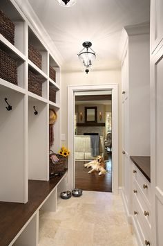 The mud… Mudroom Flooring Ideas. The mudroom tile is a honed Travertine, small Versailles pattern. Mudroom Laundry Room, Mudroom Cubbies, Bench Mudroom, Mudroom Cabinets, Laundry Area, Travertine Floors, Tile Flooring, Tiled Floors, Up House