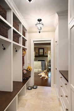 Mudroom Flooring Ideas. Mudroom Durable Flooring. Mudroom Tile Flooring. The mudroom tile is a honed Travertine, small Versailles pattern.