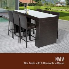 NAPA-BARTABLE-WITHBACK-6 7-Piece Napa Bar Table Set with Table and 6 Bar Stools with Back