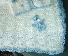 Pram rug with crocheted teddy trim  by fullbodiedwoman, via Flickr
