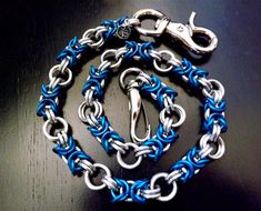 Wallet Chain Blue Bright Handmade Chainmaille by JSWALLETCHAINS