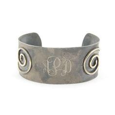 """Product # JB0415 Vintage Silver Cuff Bracelet 1 3/8""""  Price: $59.00 https://www.initialoutfitters.net/kathymurdock/"""
