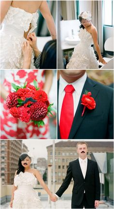 california wedding; the coolest wedding dress ever. bright pop of color actually looks really fun and beautiful.