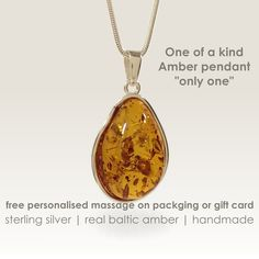 Unique gifts for women,One of a kind beautiful stone Amber Pendant,Gift ideas for women,Womens gifts,Gift for her,Stone Pendant,Gift jewelry by ZaNaDesignEtsy on Etsy