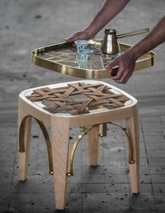 Khayzaran/Fairuz Stool & Tray by Richard Yasmine for sale at Pamono Art Deco Furniture, Table Furniture, Living Room Furniture, Painted Furniture, Furniture Design, Furniture Removal, Luxury Home Furniture, Modern Furniture, Rustic Furniture